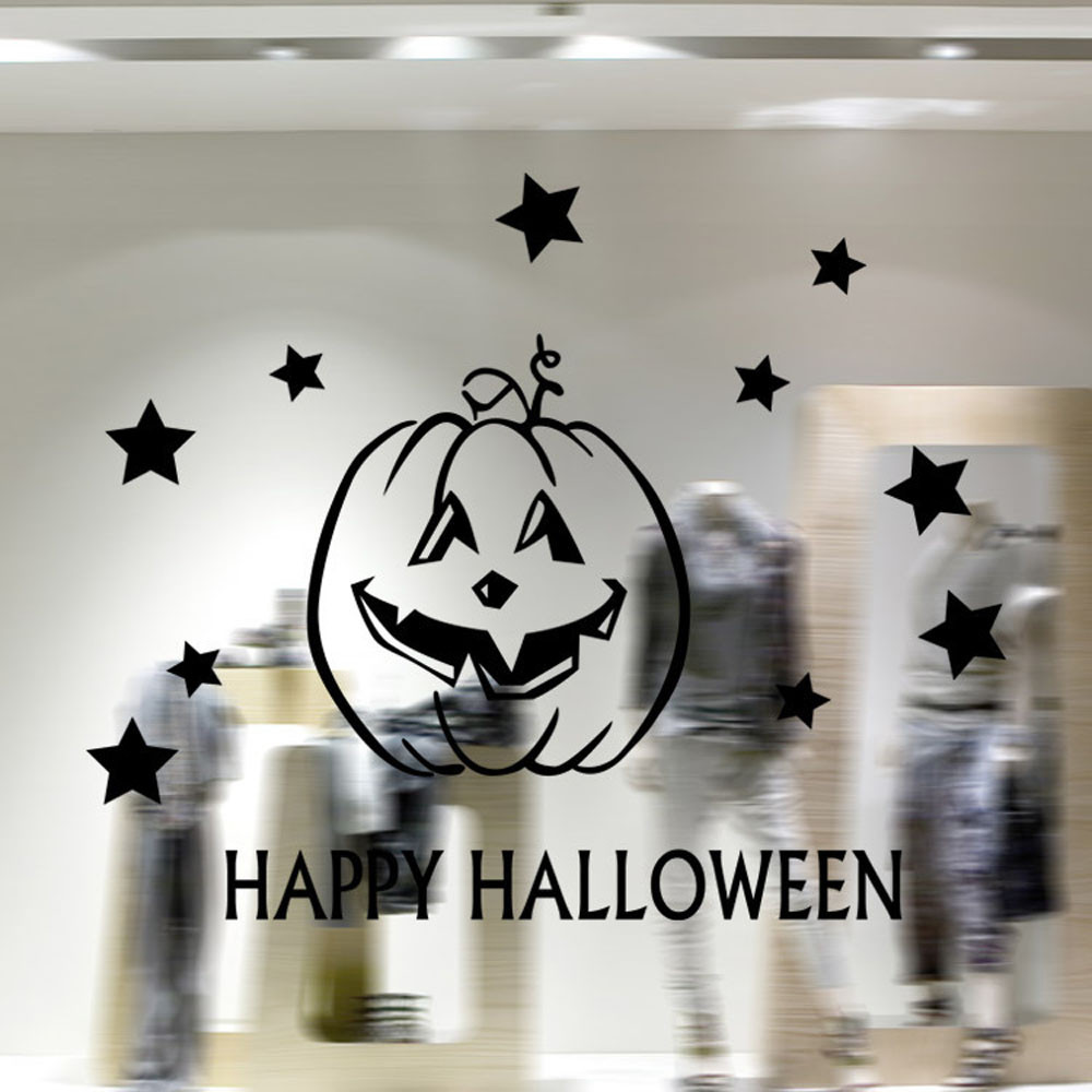 New Happy Halloween Wall Sticker Window Home Decoration Decal Decor Halloween Supplies Dropshipping Fontes do Dia das Bruxas Hot