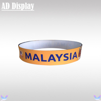 10ft*2ft Trade Show Booth Advertising Sign Tension Fabric Circle Hanging Banner Display Stand With Your Own Design Printing