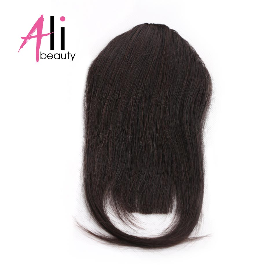 Ali-Beauty Human Hair Bangs Fringe Clips In Machine Made Remy Hair Extensions 10 Colors Free Shipping