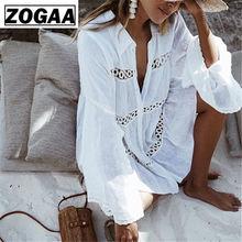 Cotton Tunic Beach Dress 2019 White Mini Plus Size Bohemian Style Dresses Sexy Women Summer Vestidos ZOGAA