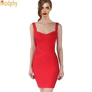 Image 4 - 2020 חדש נשים סקסי ספגטי רצועת ריון HL אלסטי סלבריטאים תחבושת שמלת Bodycon מועדון ערב מסיבת שמלות זרוק ספינה