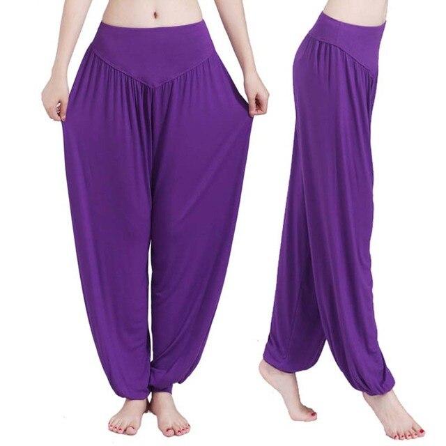 Women high waist Long Pants Harem Youga Modal Dancing Long Trouses Wide Loose Leg Belly Dance Comfy Boho Pants colors YF483 6