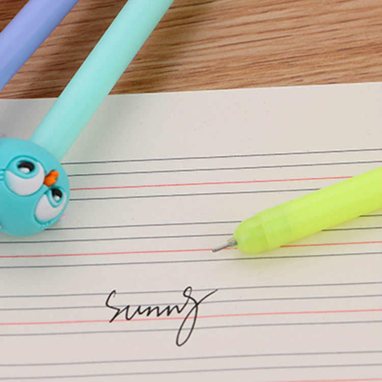 1pcs Kawaii office gel pen Creative cute bird pattern school stationery Supplies Black ink 0.5mm Pen refill