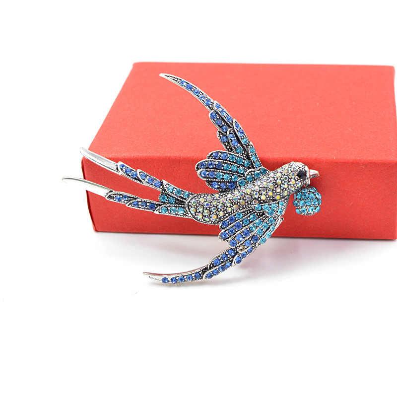 Cindy Xiang Warna Berlian Imitasi Swallow Bros untuk Wanita Indah Burung Hidup Hewan Bros Pin 2 Warna Tersedia Hadiah Yang Bagus