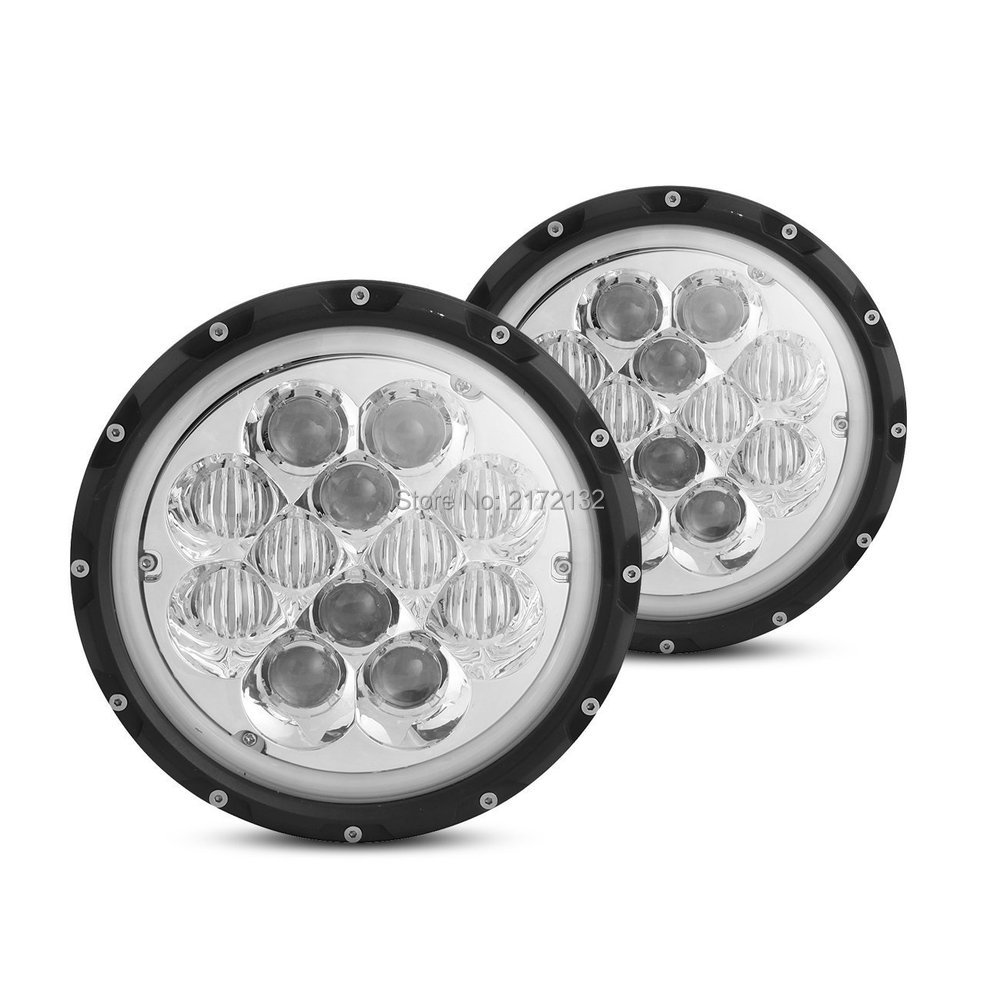 1pair Hi/low beam new design blue 60W 7inch round led headlight 5WD auto Driving Led Lamp Headlight for Jeep Wrangler michael kors new navy blue women s size xs studded hi low crewneck sweater $130