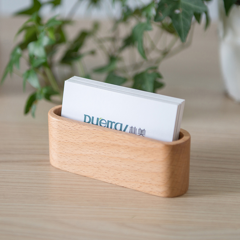 Office storage name card holder natural wood box pen holder home decor beech wood/ walnut wood card box gift