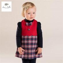 DB4217 дэйв белла осень девочка красный плед платье Шотландия сетки красное платье без рукавов