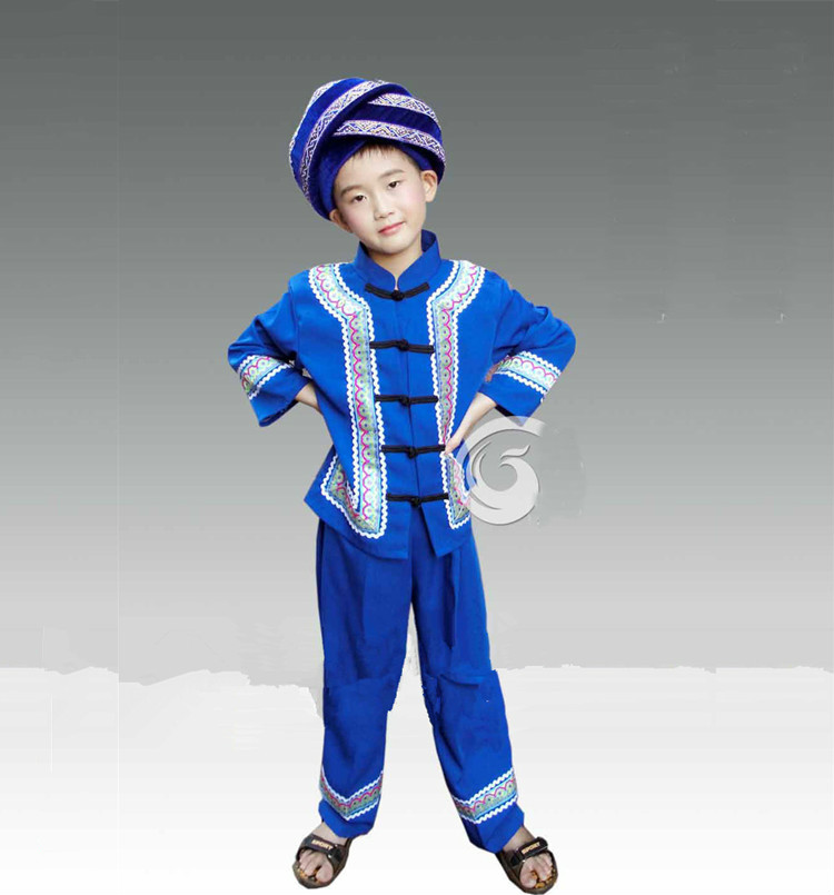 Children Chinese National Dance Costume Boy Dai Dance Clothing Chinese Miao Hmong Clothing
