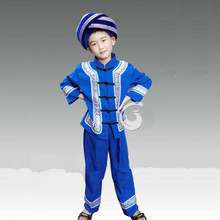 Children Chinese National Dance Costume Boy Dai Dance Clothing Chinese Miao Hmong Clothing