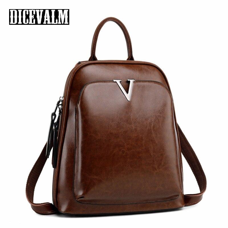 2019 Vintage femmes sac à dos en cuir véritable de haute qualité sac à dos sacs d'école pour adolescents filles solide sacs à bandoulière en cuir de vachette