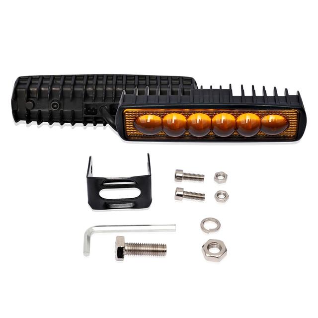 1PC 12V 18W LED Bar Arbeit Licht Off Road Auto Lichter Barra Offroad 4x4 Auto zubehör 3000K Gelb 6000K Weiß
