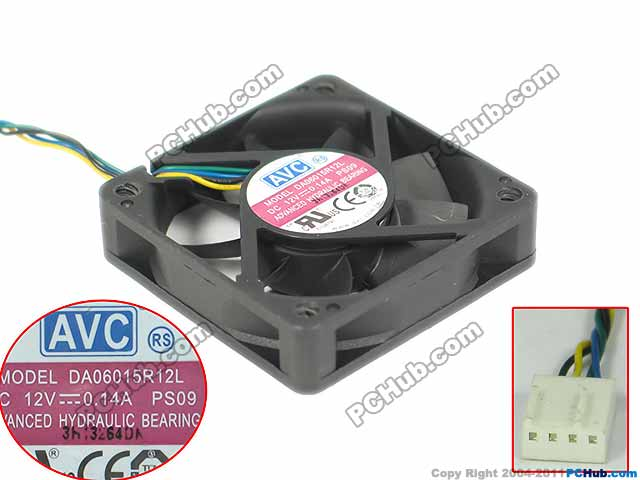 AVC DA06015R12L PS08 PS09 Server Square Fan DC 12V 0.14A 60x60x15mm 4-wire for avc dssc0715r2l p002 dc 12v 0 3a 4 wire 4 pin connector 100mm 70x70x15mm server square cooling fan