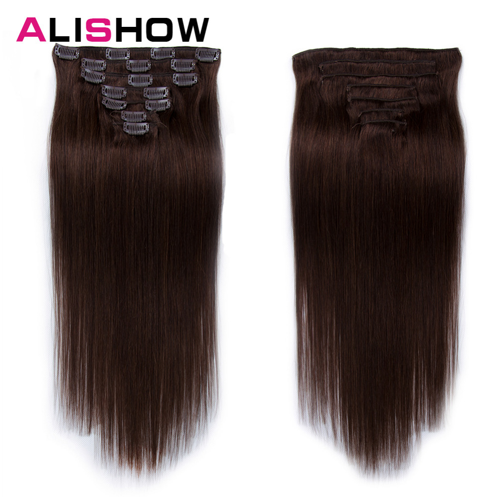 Alishow Clip In Human Hair Extensions Double Weft 14