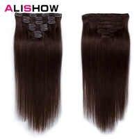 Alishow Clip in Menschliches Haar Extensions Doppel Schuss 14 -24 100% Remy Haar 100g/ set Vollen Kopf Lange Gerade 7PCS
