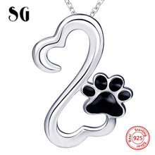 925 sterling silver cute animal dog footprint pendant chain necklace with black enamel diy fashion jewelry making women gift rhinestone footprint cute pendant necklace