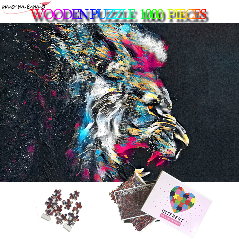 MOMEMO Painted Lion Art Jigsaw Puzzle 1000 Pieces Wooden 50*75cm Puzzle Home Decor Puzzle Games Adults Puzzles Toys Kids Gifts