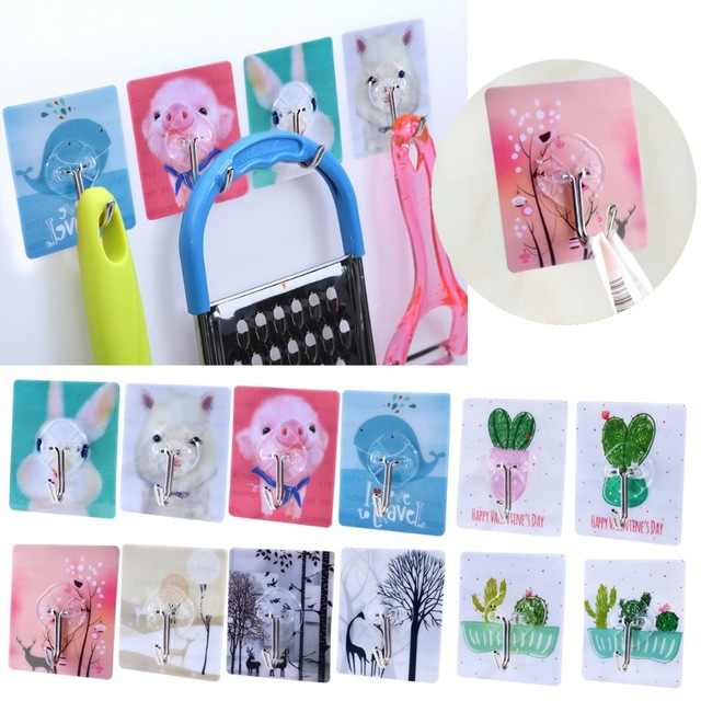 5 pcs 1pcs Strong Adhesive Door Wall hook cartoon anima Hooks Kitchen wall hook free punching suction cup Bathroom Accessories in Robe Hooks from Home Improvement