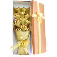 Wishonor 2017 Great Wedding Decor 24K Gold Rose Flower For Lover's, Golden Rose Never Fade With Nice Package and Free Shipping