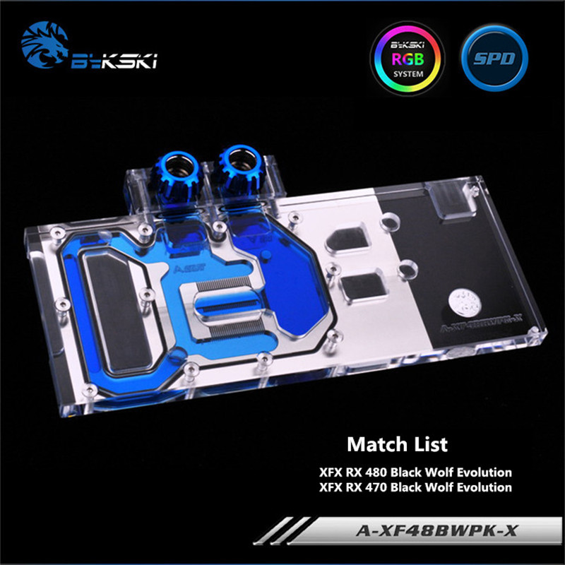 Bykski Full Coverage GPU Water Block For VGA XFX <font><b>RX</b></font> 480 <font><b>470</b></font> Black Wolf Evolution <font><b>Graphics</b></font> <font><b>Card</b></font> A-XF48BWPK-X image