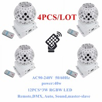 4PCS LOT DJ Lighting Remote Control RGBW Quad Color LED Crystal Magic Ball Stage Lights 10M