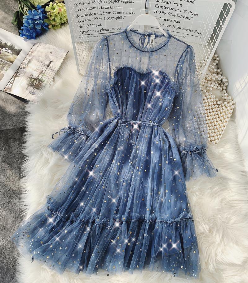 Gauze Two Piece Midi Dress 17