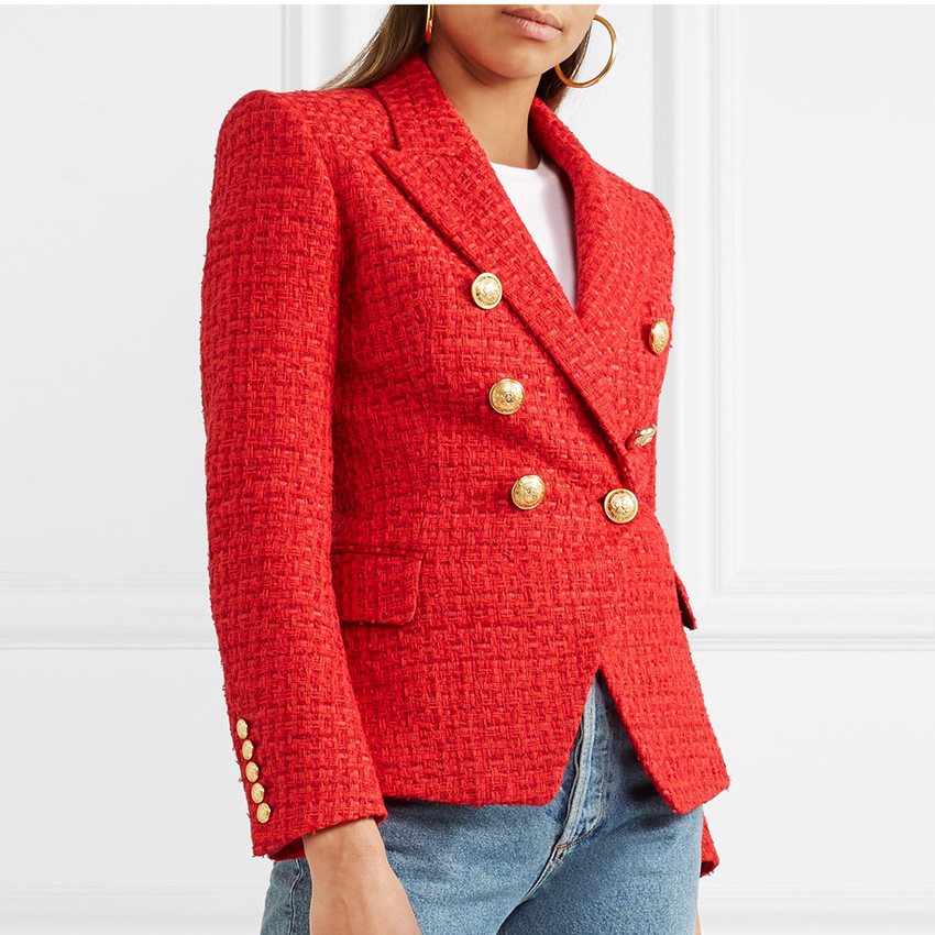 EXCELLENT QUALITY Stylish Designer Blazer For Women Double Breasted Lion Buttons Slim Fitting Office Lady Blazer Wool Coat