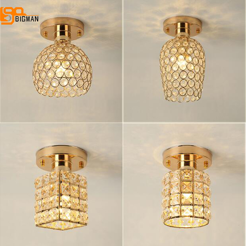 beautiful home crystal ceiling lights modern LED light ceiling hallway lighting fixtures , gold /silver corridor lamp