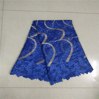 African French Lace Fabric with stones High Quality African Tulle Lace Fabric with stones 5yards royalblue lace fabric KC5-53