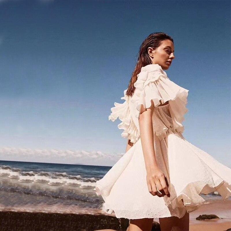V Mince En Blanc Profonde Modèle Femmes Robe Manches Casual Courtes Cou Soirée À 2018 Nouveau D'été Solide Plissé Partie Gros Chic lFT1Jc3K