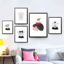 Cartoon Cat Princess Canvas Painting Children Wall Picture Modern Print Poster Baby Room Decor HD2261