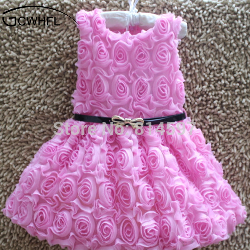 2018 Hot Sale! Baby Girls Sleeveless Rose Dress Round Neck Princess Dress With Belt Kids Summer Tutu Dress Children Clothing free shipping new arrival 2015 fashion summer baby girl lovely flower sleeveless bowknot round neck party dress hot sale