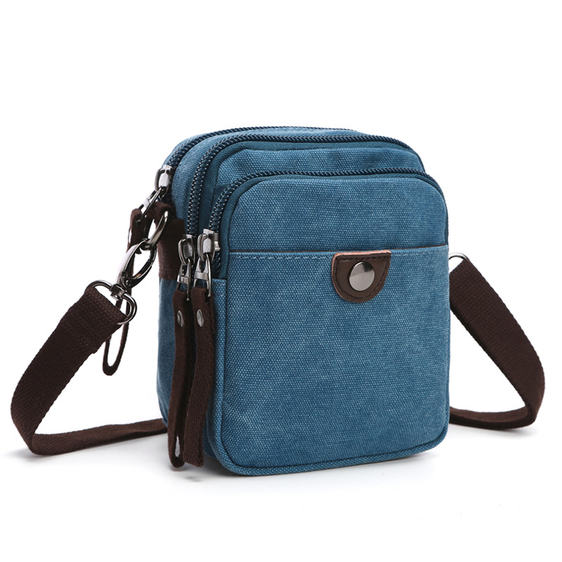 Leisure Small Canvas Bags Single Shoulder Travel Bag Multi-Pocket Male Messenger Crossbody Bag Without Black Color