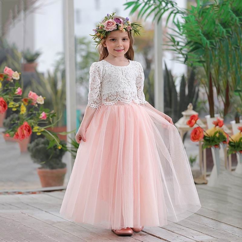 Retail 2019 Spring Summer Set Clothing For Girls Half Sleeve Lace Top+Champagne Pink Long Skirt Kids Clothes 2-11T E17121(China)