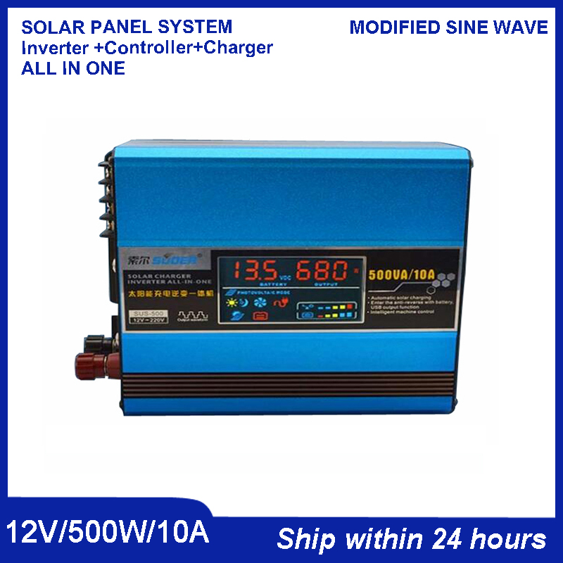 New Design 500W Solar All-in-one Inverter with Built-in 20A Controller/DC 12V Portable Inverter with Charging USB port for Phone