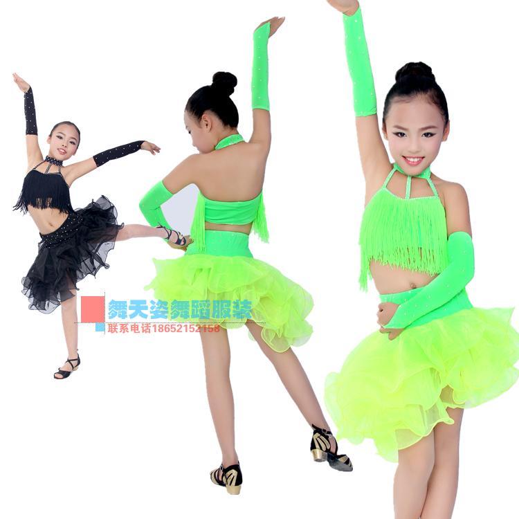 Jauna stila bērnu latīņu deju kostīmi vecāko spandeksu pušķu meitenes latīņu deju kleitas meitenēm latīņu deju kleitas S-4XL