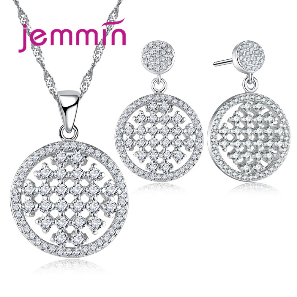 Jemmin Round Square Hollow Pendant Jewelry Set 925 Sterling Silver Fine Jewelry Necklace/Earrrings Valentine's Day Gift.