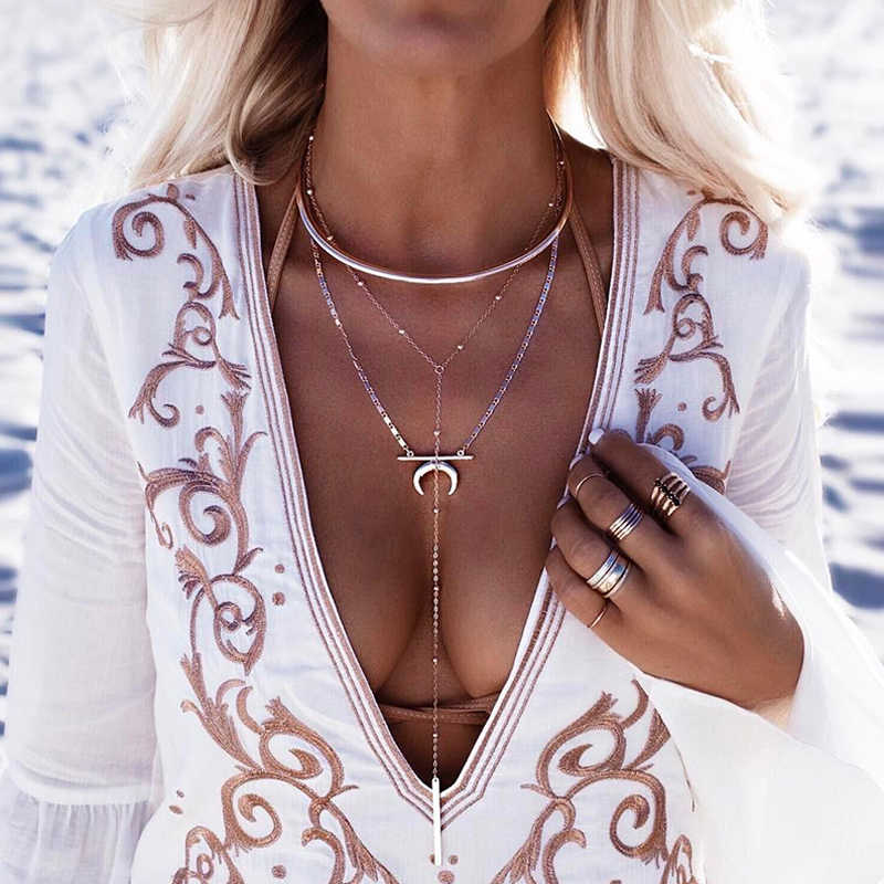 Fashion Multilayer Beads Vertical Stripes Moon Circle Chain Pendant Silver Long Necklace Women Bohemian Charm Clothing Jewelry