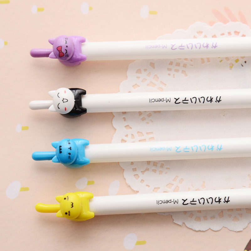 G48 2X Cute Kawaii Lovely Cat Mechanical Pencils School Office Supply Student Stationery Kids Gift Press Automatic Pencil