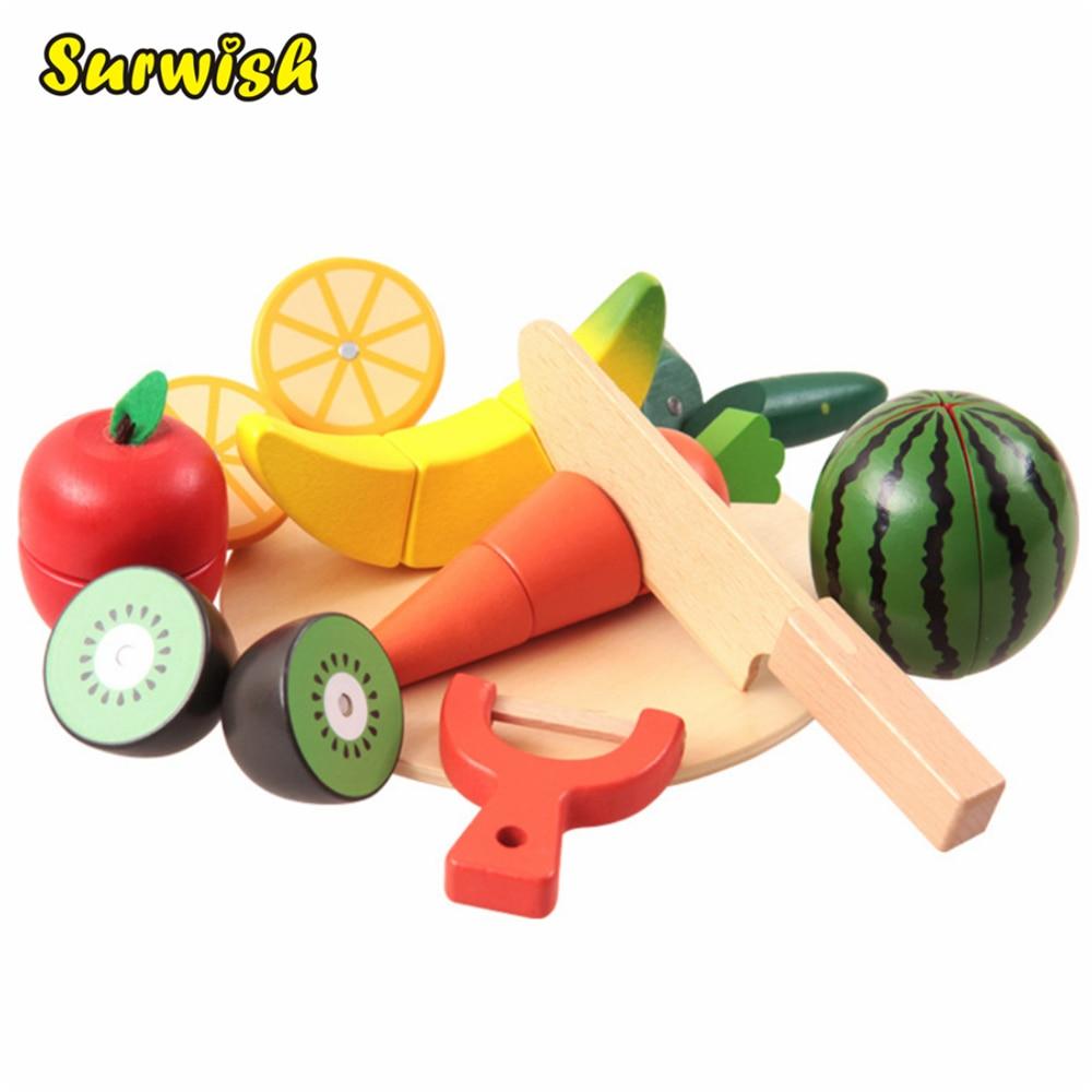 bf1f6340471e89 10 Pcs ensemble Enfants Bois Cuisine Jouets Coloré prétend Jouets Éducatifs  Cut Jouets pour Enfants Bébé Fruits Légumes cocina juguete