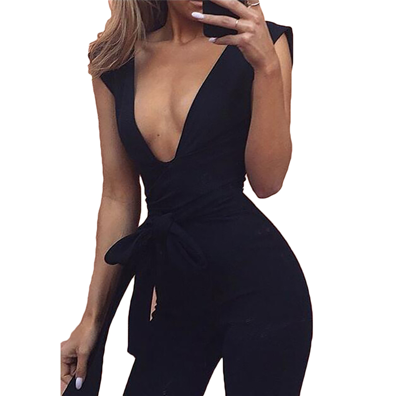Sexy Half Sleeve Women Deep V Neck Jumpsuit Romper Long Pant Fashion New Elegant Satin Women Overalls Shinning Siamese