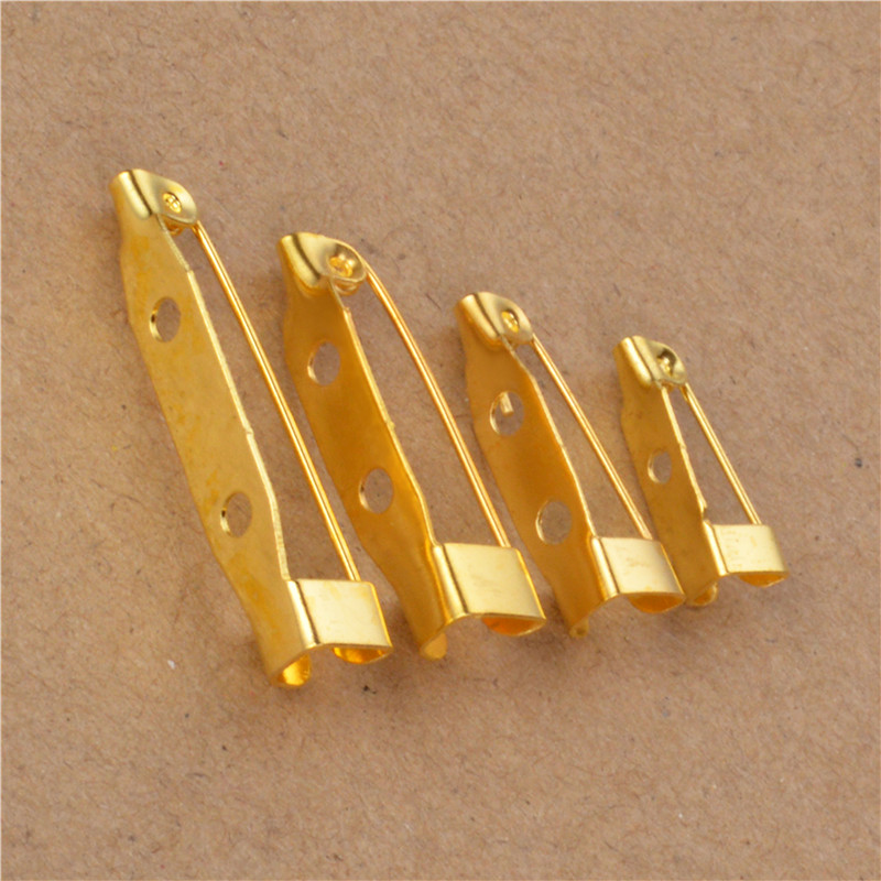 40Pcs 15 20 25 30mm Safety Lock Back bar Pin DIY brooch base use for brooch and hair jewelry Finding
