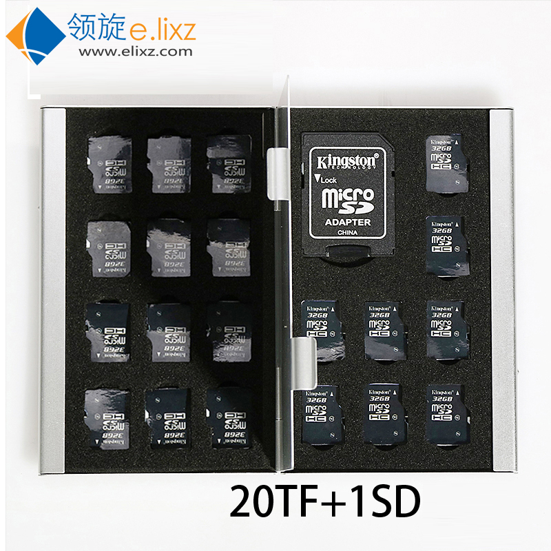 2017 Silver Red Blue Gold 21 In 1 Aluminum Storage Box <font><b>Bag</b></font> Memory Card Case Holder Wallet Large Capacity For 1* For Sd 20*mirco image