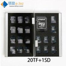 2017 серебристый, красный, синий, золотой, 21 в 1, алюминиевая коробка для хранения, сумка, бумажник большой емкости для 1 * для Sd 20 * mirco