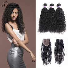 hot deal buy joedir hair 2 3 4 bundles with closure brazilian kinky curly human hair weave non remy hair extensions bundles with closure