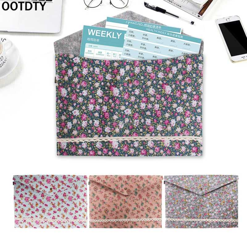 Blanket cloth + floral cloth Document Bag A4 Size File Paper Pocket Storage Organizer For School Office