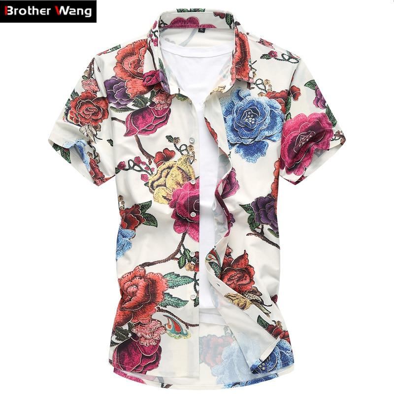 2018 été nouvelle hommes motif floral chemise Grande taille mâle Mode Casual Impression À Manches Courtes Chemise de Marque hommes vêtements 6XL 7XL