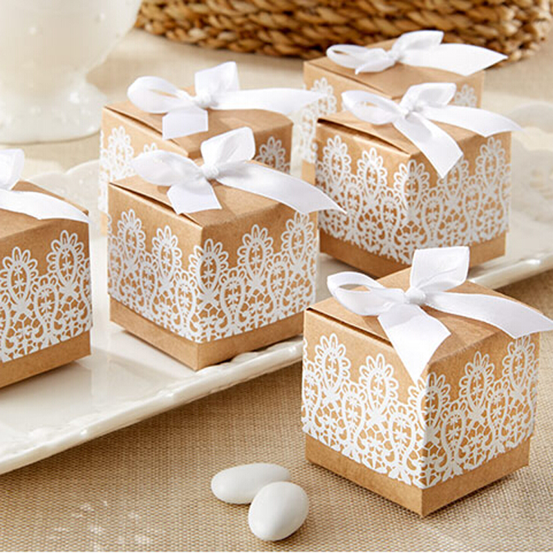 Avebien Rustic Lace Kraft Favor Box Baby Shower Candy Box Wedding
