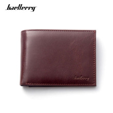 Baellerry Brand Wallet Leather Men Wallets Slim Coin Pocket Zipper Purse Handy Luxury Male Purses Short Cards Holder Fashion недорого