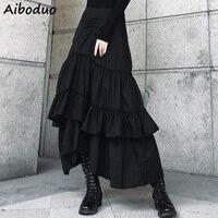 Casual Preppy Style Ruffles Asymmetric Skirt for Women Ladies Elegant Fashion Office Work Wear Black White Long Tulle Skirt