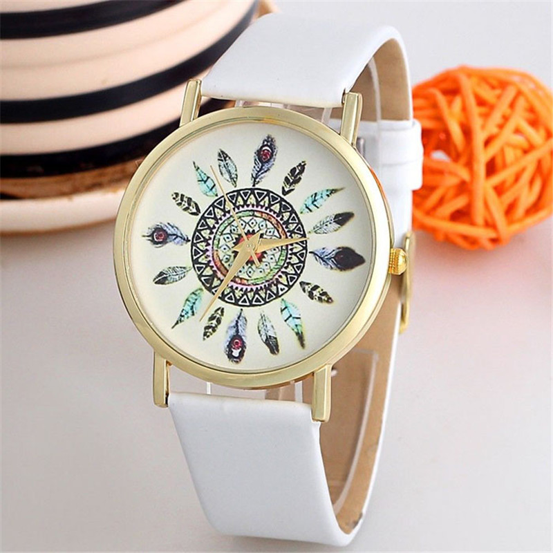 Dropshipping Jimshop Women Vintage Feather Dial PU Leather Band Quartz Analog Watch Unique WristWatch Relogio Feminino Wholesale women relogio feminino vintage feather dial pu leather band quartz analog watch unique wristwatch watches relojes mujer fabulous